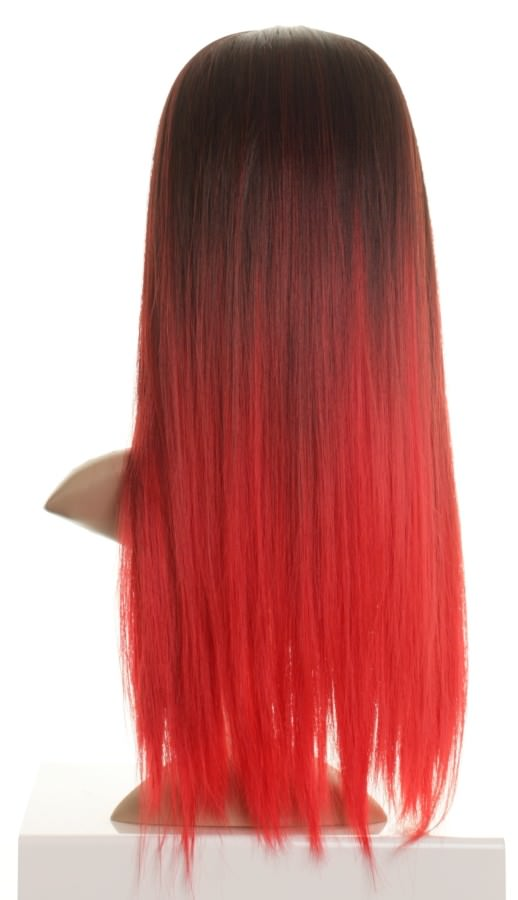 Bianca - Dark Brown to Bright Red Dip-dye Wig, dip dyed ...