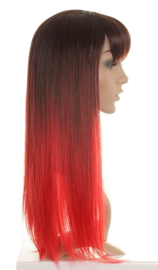 Bianca Dark Brown To Bright Red Dip Dye Wig Dip Dyed