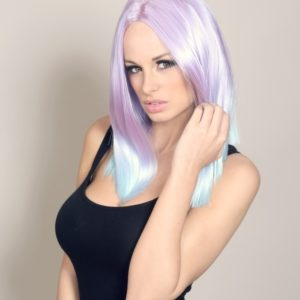 Annabelle - Purple in to pale blue dip dye wig
