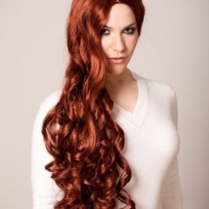 Eva - Extra long red wig curly centre parted