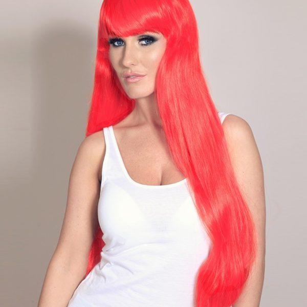Freya - Long bright fire red wig