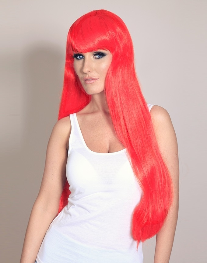 Freya - Long bright fire red wig - Wonderland Wigs