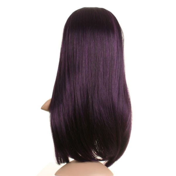 Black And Purple Human Hair Wig 7