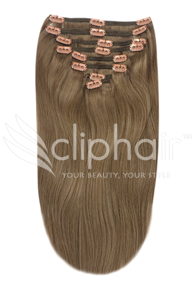 Cliphair 20 inch full head remy clip in human hair extensions ash brown 9 pmusecretfo Choice Image