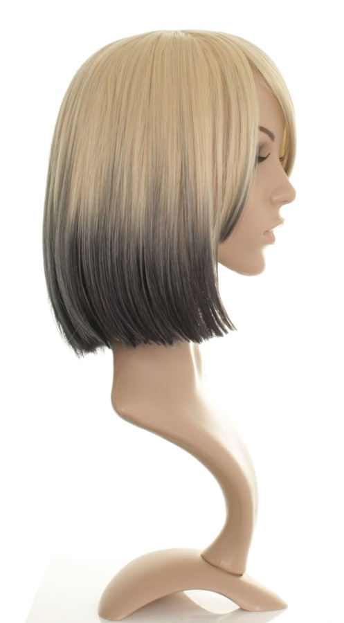 Drew - Mid-length blonde dip dye wig with black tips