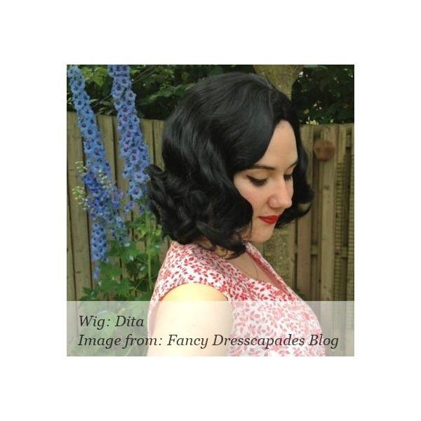 Dita - Short black 1940s style finger wave bob wig