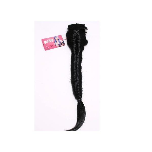 Black clip in fishtail plait hairpiece