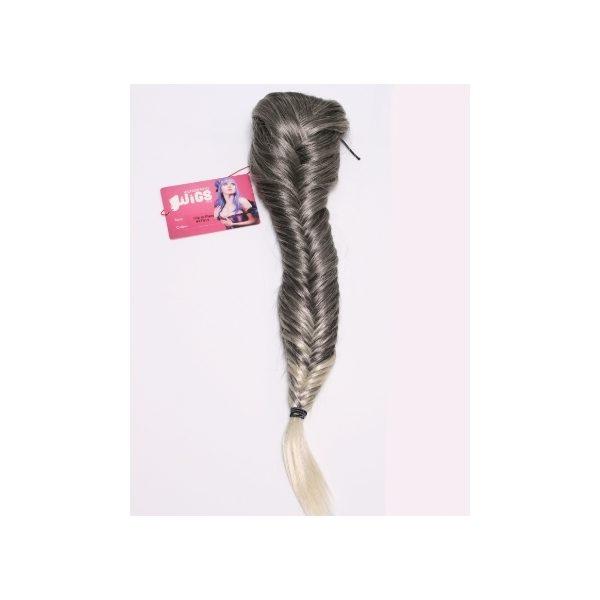 Grey/Blonde clip in fishtail plait hairpiece
