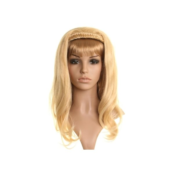 2 Tone Blonde fishtail plait headband half wig