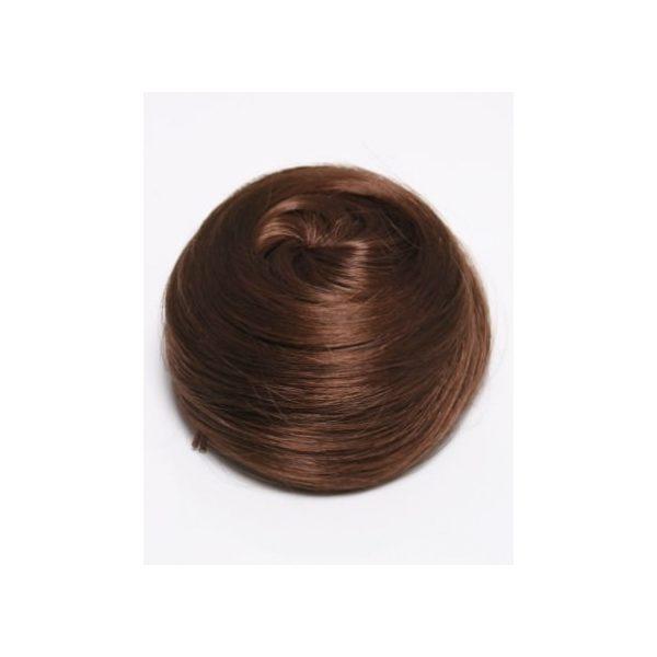 Warm Brown sleek messy clip in hair bun hairpiece