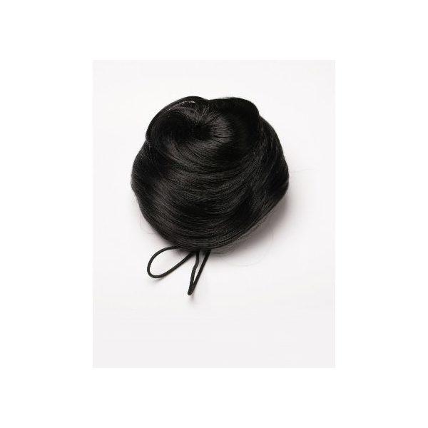 Black sleek messy clip in hair bun hairpiece