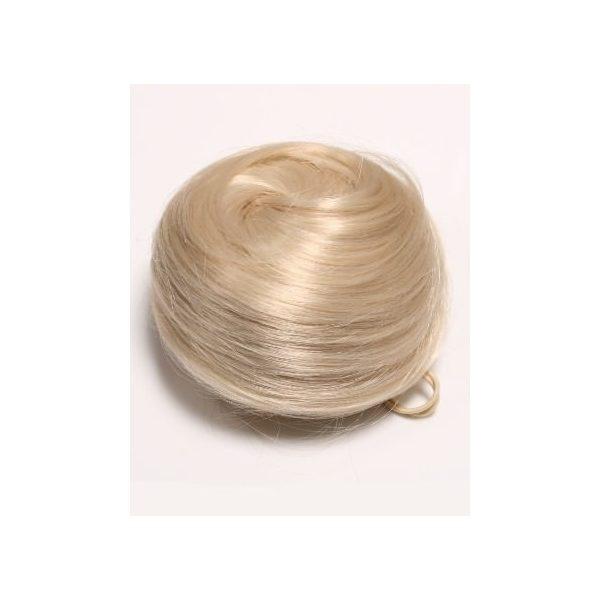Light Blonde sleek messy clip in hair bun hairpiece