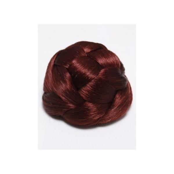 Dark Red braided clip in hair bun hairpiece