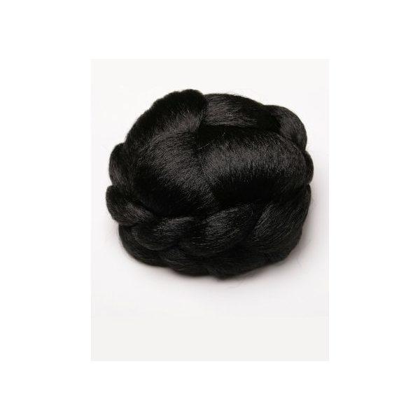Black braided clip in hair bun hairpiece