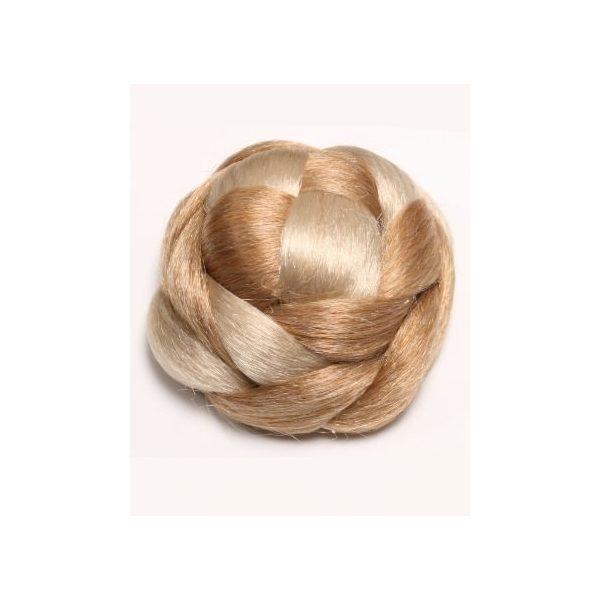 2 Tone Blonde braided clip in hair bun hairpiece