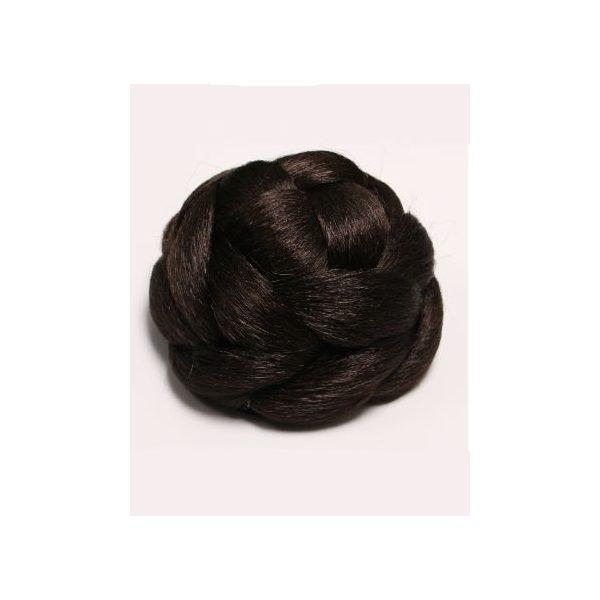 Dark Brown braided clip in hair bun hairpiece