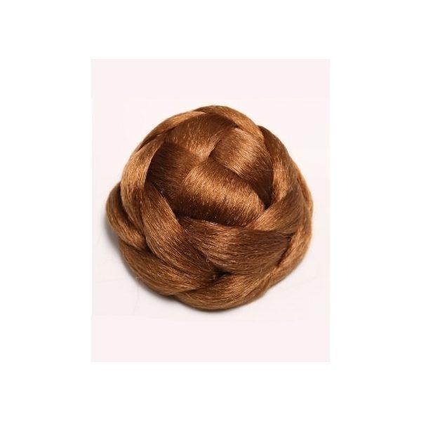 Ginger braided clip in hair bun hairpiece