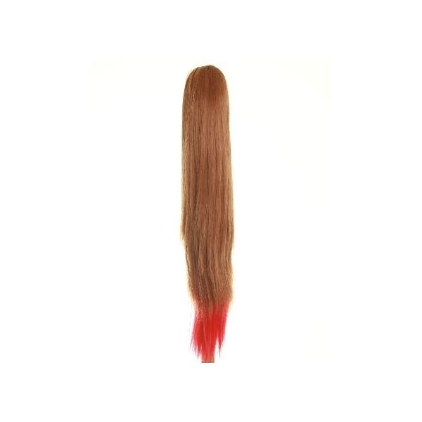 Straight clip in ombre dip dye ponytail hairpiece in Ginger and Red