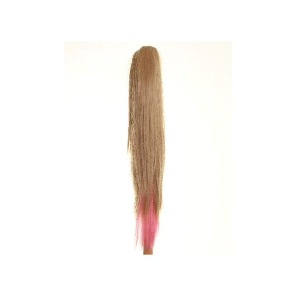 Straight clip in ombre dip dye ponytail hairpiece in Blonde and Pink