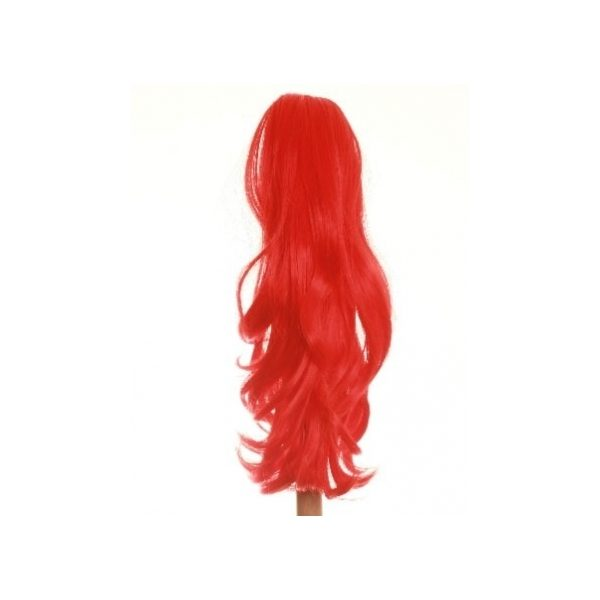 Flicked clip in ponytail hairpiece in Bright Red