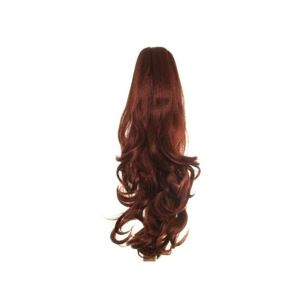 Flicked clip in ponytail hairpiece in Dark Red