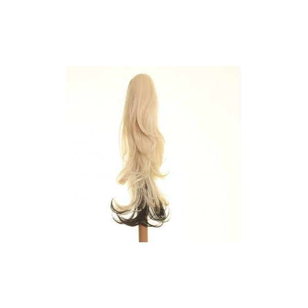 Flicked clip in ombre dip dye ponytail hairpiece in black and blonde