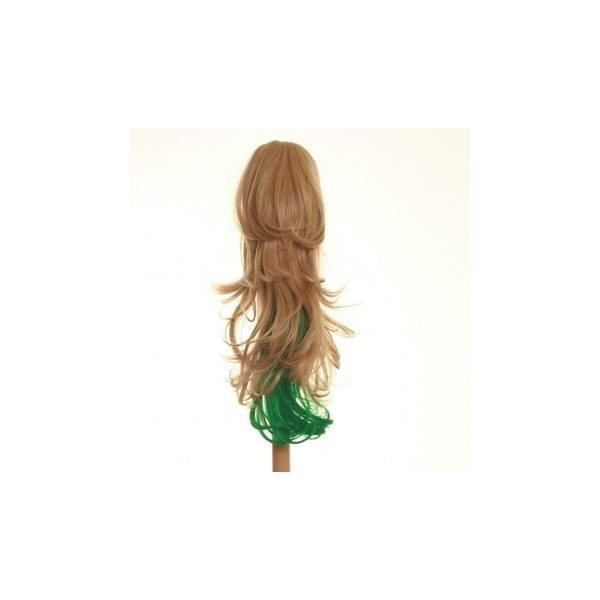 Flicked clip in ombre dip dye ponytail hairpiece in Blonde and Green