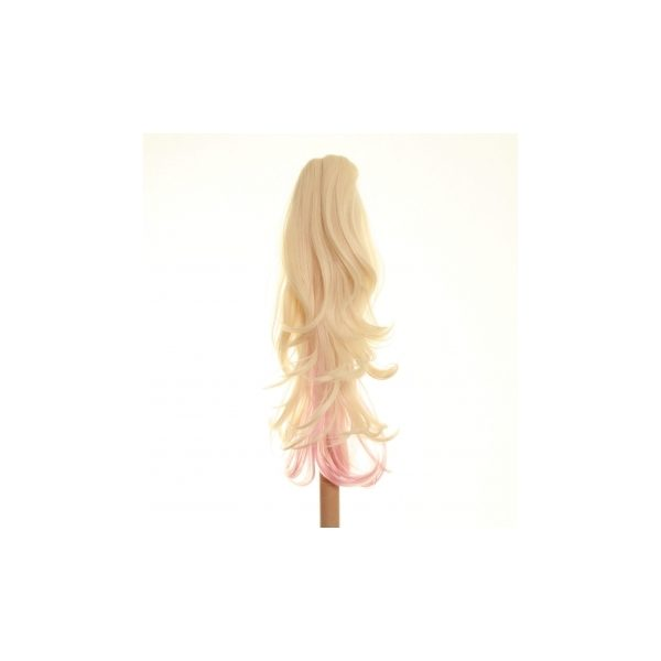 Flicked clip in ombre dip dye ponytail hairpiece in Light Blonde and Pink