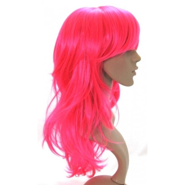Star - Long layered and flicked hot pink wig