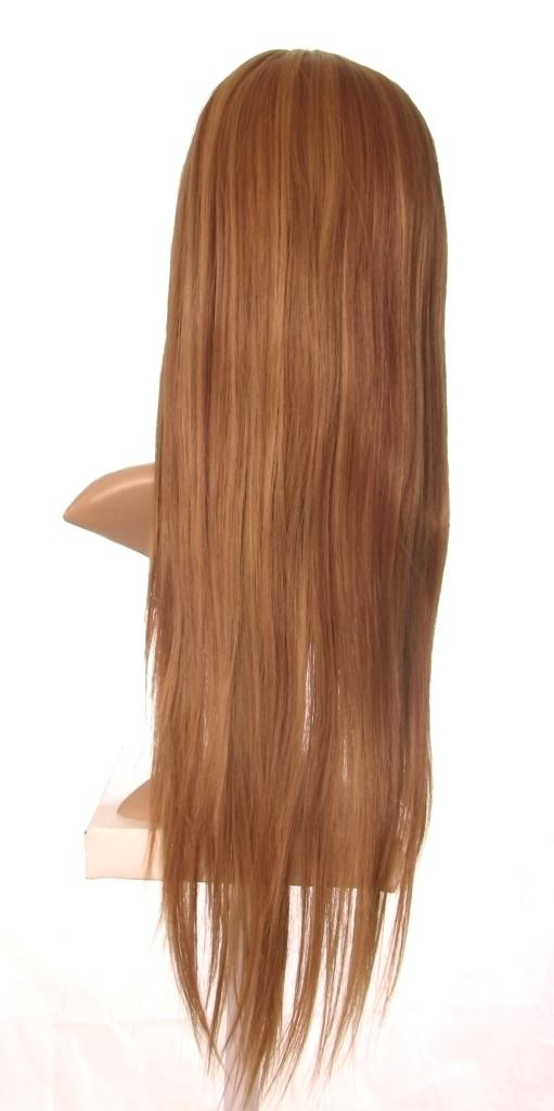 Ivory - Extra long brown wig with blonde highlights