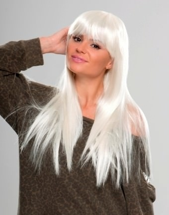Fifi - Extra long white wig with fringe