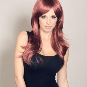 Cassy - Long dark red wig (razor cut and layered)