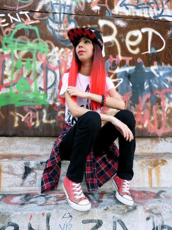 Bianca - Dark Brown to Bright Red Dip-dye Wig