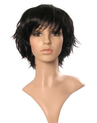 Porzia - Short black wig (choppy flicked wig)