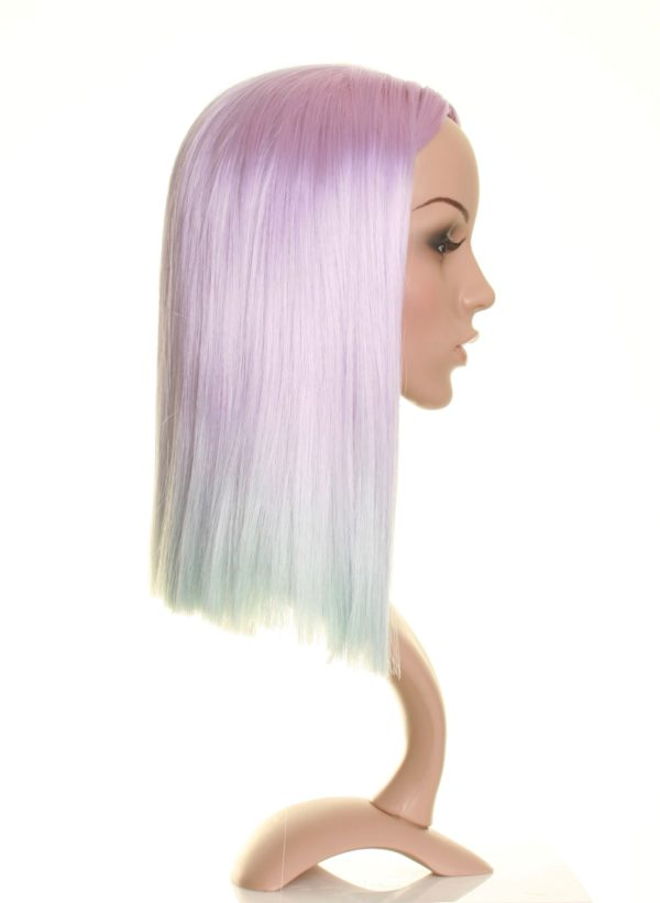 Annabelle - Light purple in to pale blue dip dye wig