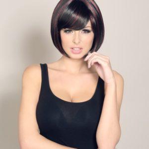 Alesha - Short dark brown bob wig with Red lowlights