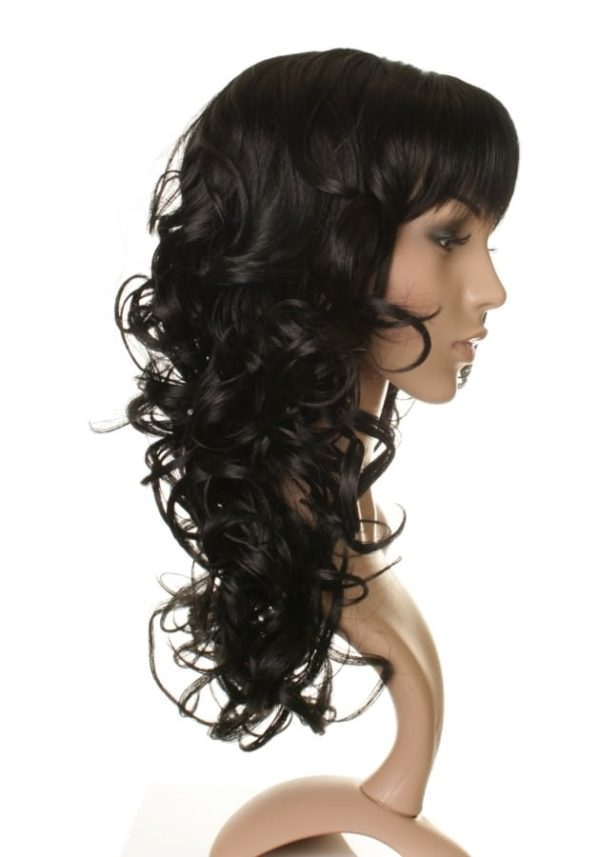Caro - Long black curly wig with straight fringe