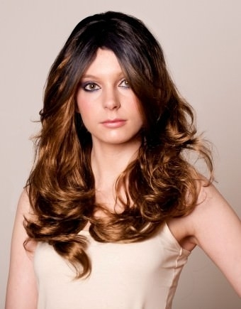 Fearne - Wavy black to brown dip dye wig