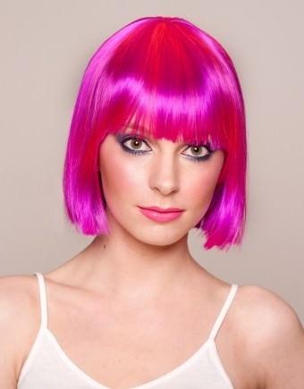 Nadia - Short pink wig (bright pink 2 tone)