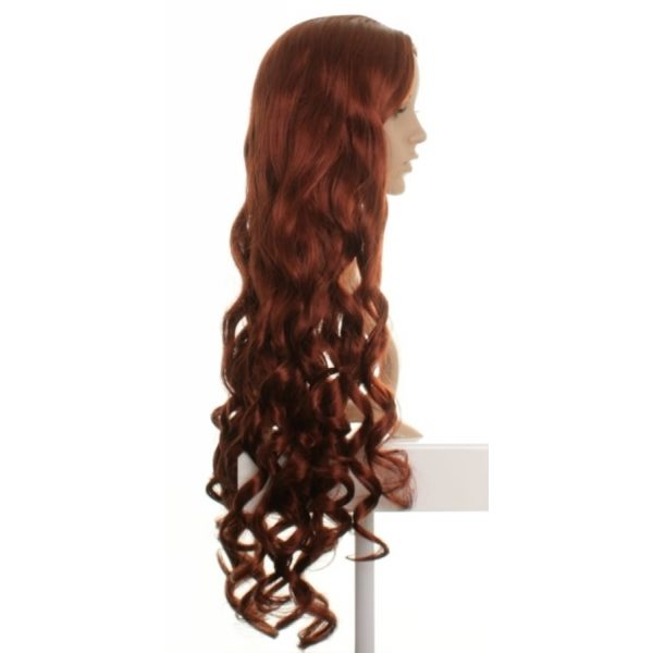 Eva - Extra long curly red wig centre parted