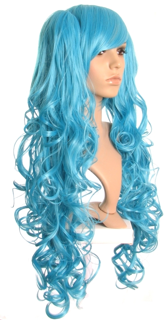 Tallulah - Bright blue cosplay wig with curly bunchies (Miku Wig)