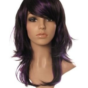 Fleur - Black and purple razor cut layered ladies wig