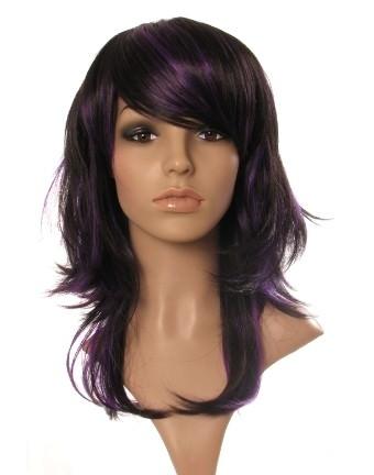 Fleur - Black and purple razor cut layered ladies wig