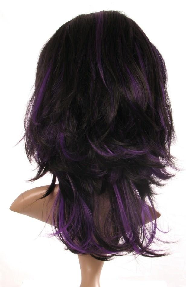 Fleur Black And Purple Razor Cut Layered Ladies Wig