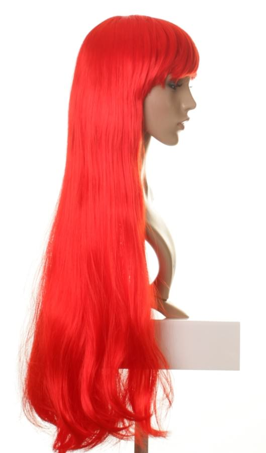 Freya - Long bright fire red wig