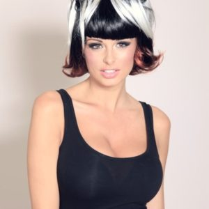 Angel - Short cosplay style black white and red 'bunchies' wig