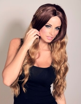Giselle - Brown and blonde dip-dye ombre wig