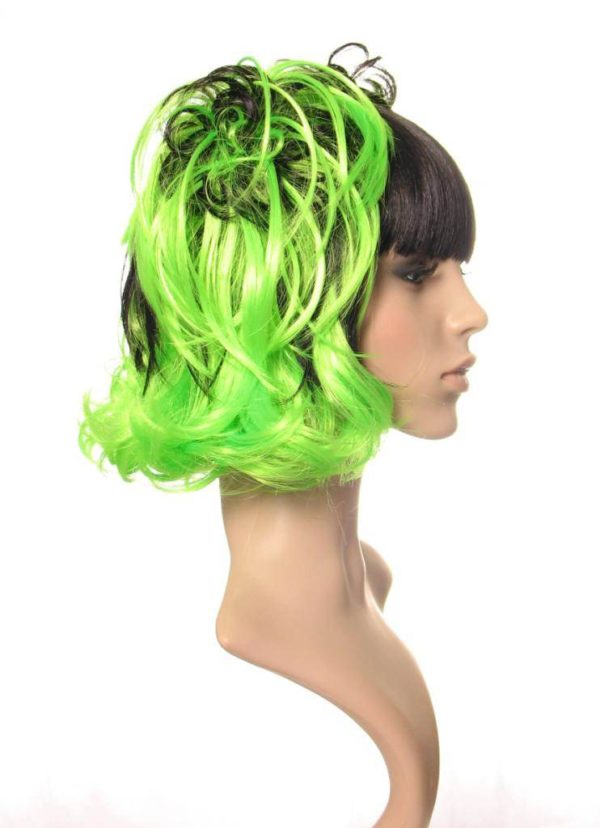 Roxanne - Bright green and black cosplay bunchies wig