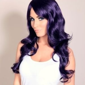 Shelby - Black And Purple Curly Ladies Wig