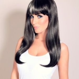 Sugar - Long dark brown wig with blonde highlights